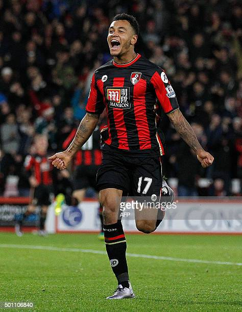 Bournemouth's Norwegian striker Joshua King celebrates scoring his team's second goal during the English Premier League football match between...