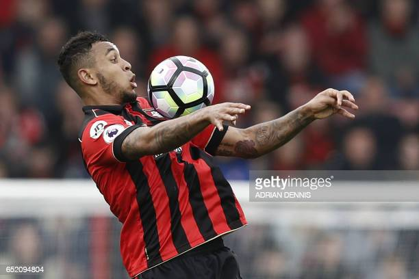 Bournemouth's Norwegian striker Joshua King controls the ball during the English Premier League football match between Bournemouth and West Ham...