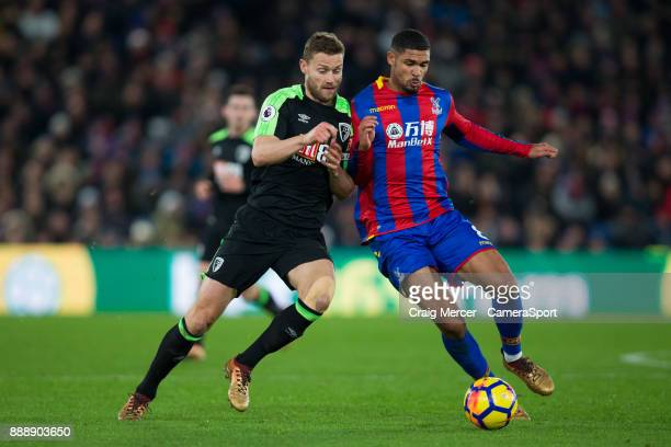 Bournemouth's Simon Francis vies for possession with Crystal Palace's Ruben LoftusCheek during the Premier League match between Crystal Palace and...