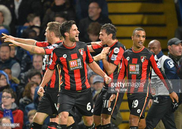 Bournemouth's South Africanborn English midfielder Andrew Surman celebrates their first goal during the English Premier League football match between...