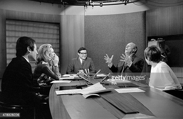 Bourvil invited on the set of the JT for the exit of the movie ''the Standard'' surrounded with Michel Drucker Jacqueline Alexandre France Nespo and...