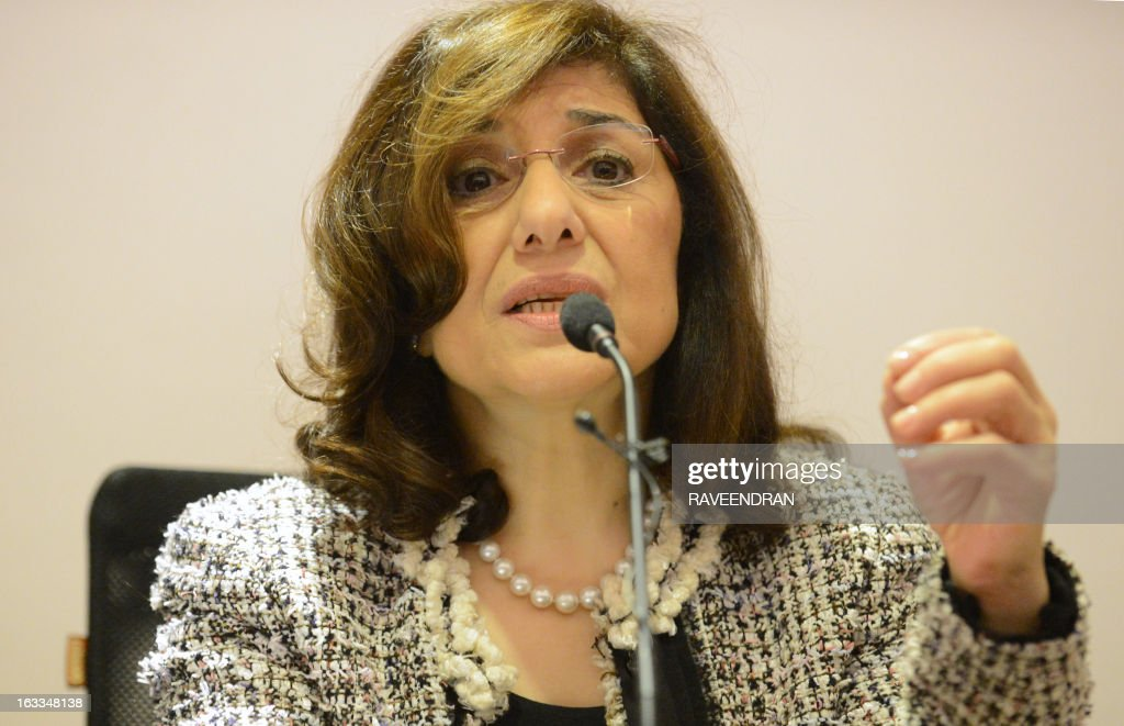Bouthaina Shaaban, a cabinet-level adviser to Syrian President Bashar al-Assad, addresses journalists at the India Islamic Centre in New Delhi on March 8, 2013. A top Syrian regime official thanked the BRICS group of emerging powers March 8 for its support, which she said had prevented Western military intervention and the 'destruction' of the country.
