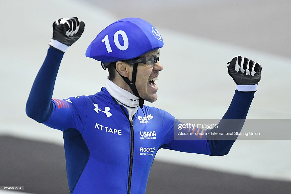 KC Boutiette of the USA reacts after the Men Mass Start final at M Wave on November 20, 2016 in Nagano, Japan.