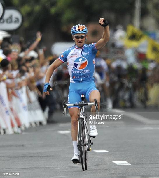Bouygues Telecom's Thomas Voeckler celebrates winning the fifth stage of the Tour de France between Le Cap d'Agde and Perpignan