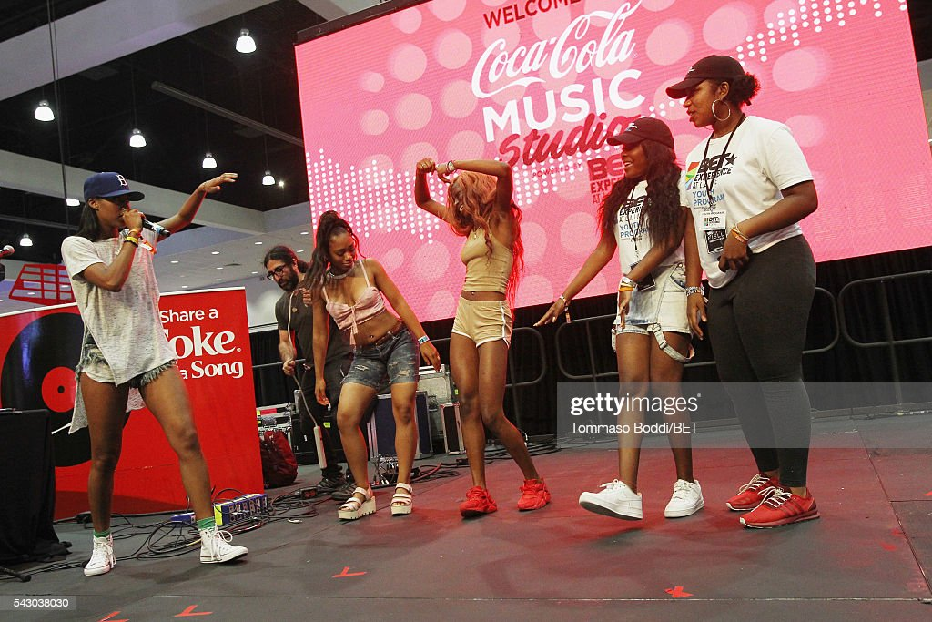 DJ Bova invites music fans to dance onstage at the Coke music studio during the 2016 BET Experience on June 25, 2016 in Los Angeles, California.
