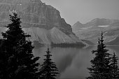 Landscape featuring Bow Lake from Banff National Park.
