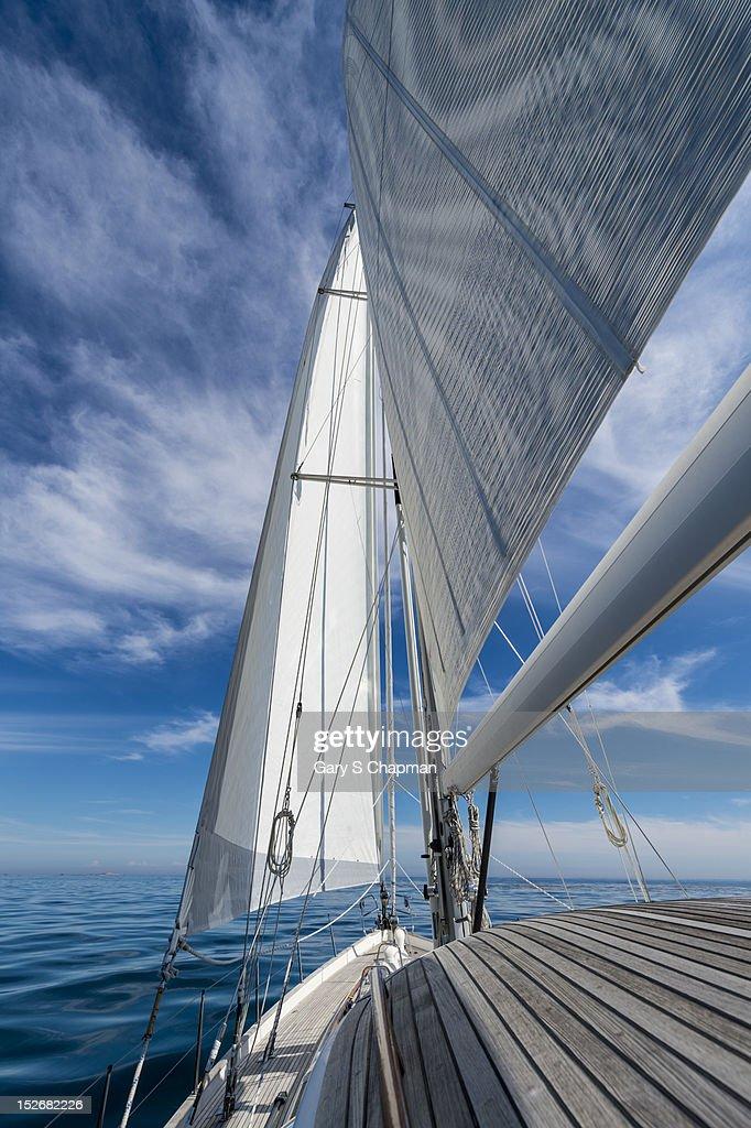 Bow of 62 ft sailboat : Stock Photo