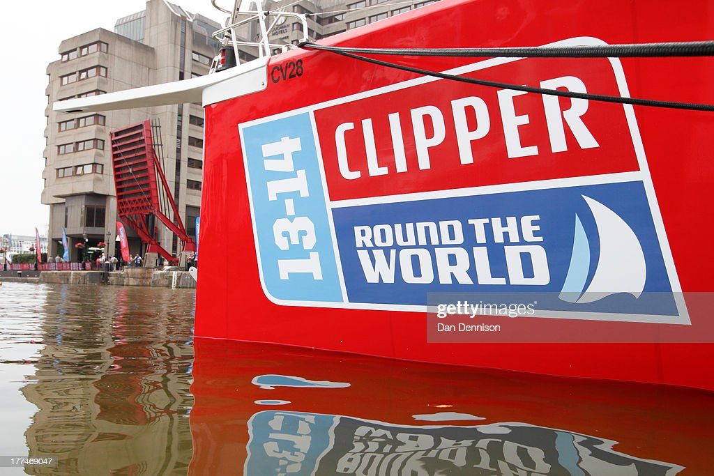 Bow of a Clipper ship in St Katherine's Dock, east London on August 23, 2013. The Clipper 2013-14 Round The World Yacht Race is a 40,000 mile, 8-leg course which begins on September 1 and will visit six continents, taking eleven months to complete.