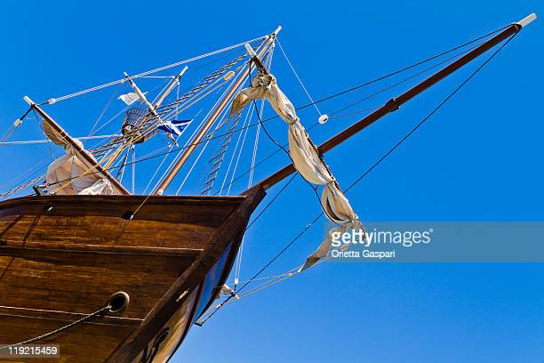 Bow Of A Sailing Ship From Below