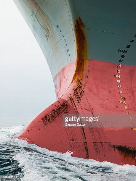 Bow of cargo ship in ocean.