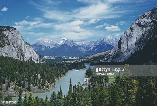 Bow Valley on the upper Bow River in Alberta Canada circa 1960