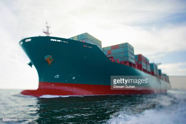 Bow view of fully loaded cargo ship.