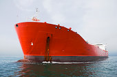 Bow view of red tanker.