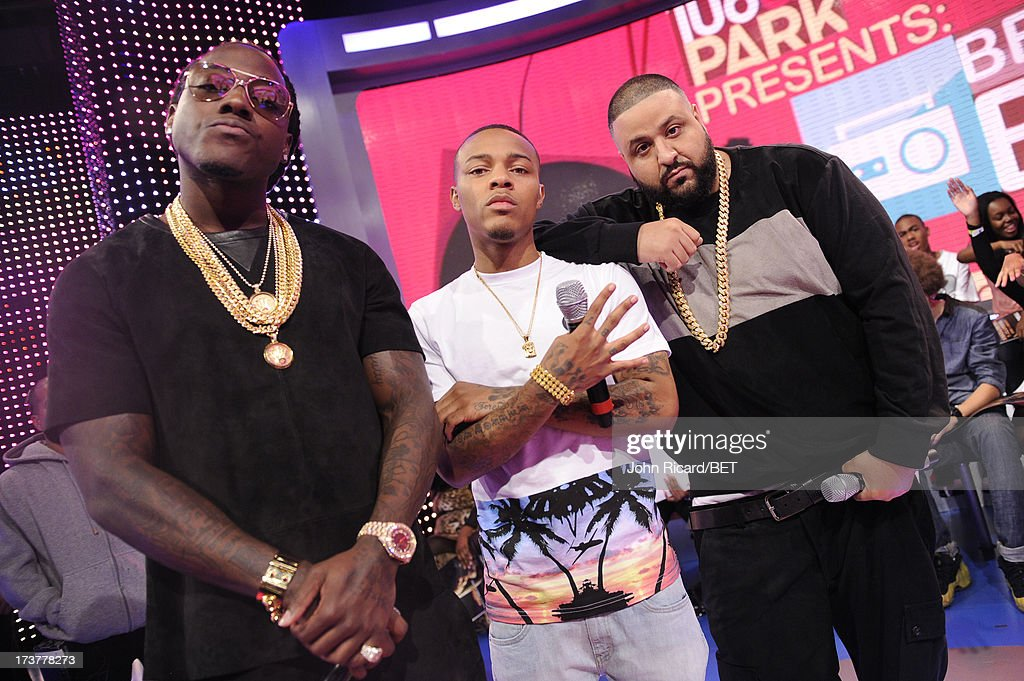 <a gi-track='captionPersonalityLinkClicked' href=/galleries/search?phrase=Bow+Wow+-+Rapper&family=editorial&specificpeople=211211 ng-click='$event.stopPropagation()'>Bow Wow</a>, Ace Hood and <a gi-track='captionPersonalityLinkClicked' href=/galleries/search?phrase=DJ+Khaled&family=editorial&specificpeople=577862 ng-click='$event.stopPropagation()'>DJ Khaled</a> at BET's 106 & Park at BET Studios on July 17, 2013 in New York City.