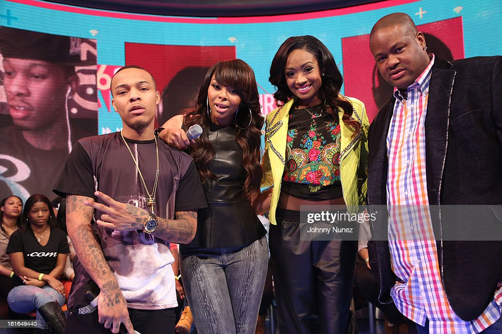<a gi-track='captionPersonalityLinkClicked' href=/galleries/search?phrase=Bow+Wow+-+Rapper&family=editorial&specificpeople=211211 ng-click='$event.stopPropagation()'>Bow Wow</a> and Kimberly 'Paigion' Walker, Kayla Brianna Smith and Vincent Herbert visit BET's '106 & Park' at BET Studios on February 13, 2013 in New York City.
