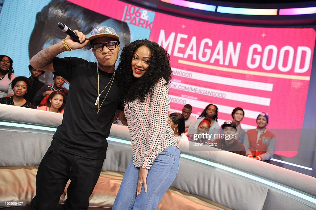 <a gi-track='captionPersonalityLinkClicked' href=/galleries/search?phrase=Bow+Wow+-+Rapper&family=editorial&specificpeople=211211 ng-click='$event.stopPropagation()'>Bow Wow</a> and Megan Good during BET's '106 & Park' at BET Studios on March 18, 2013 in New York City.