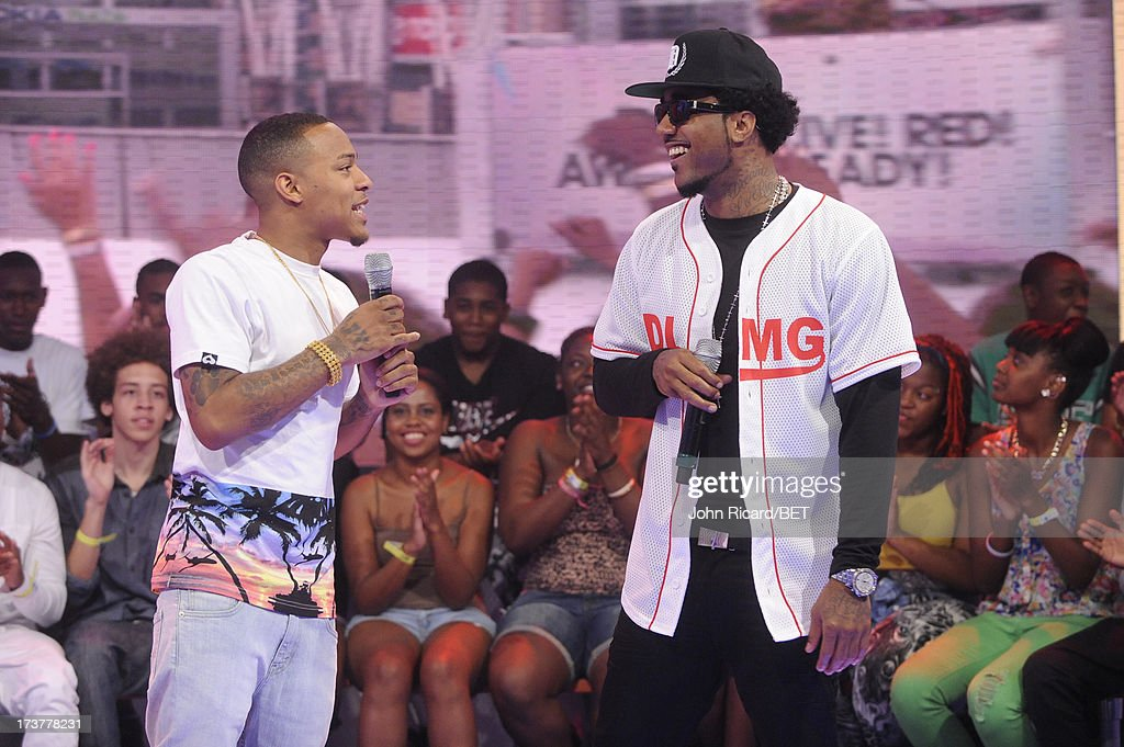 <a gi-track='captionPersonalityLinkClicked' href=/galleries/search?phrase=Bow+Wow+-+Rapper&family=editorial&specificpeople=211211 ng-click='$event.stopPropagation()'>Bow Wow</a> and Problem at BET's 106 & Park at BET Studios on July 17, 2013 in New York City.