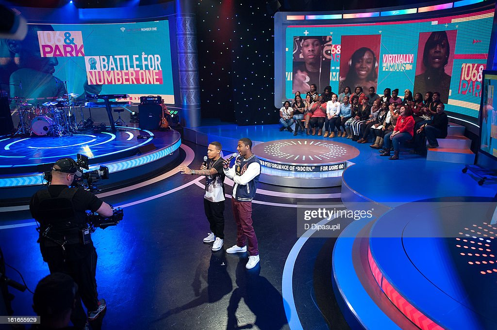 Bow Wow (L) and Shorty Da Prince host BET's '106 & Park' at BET Studios on February 13, 2013 in New York City.