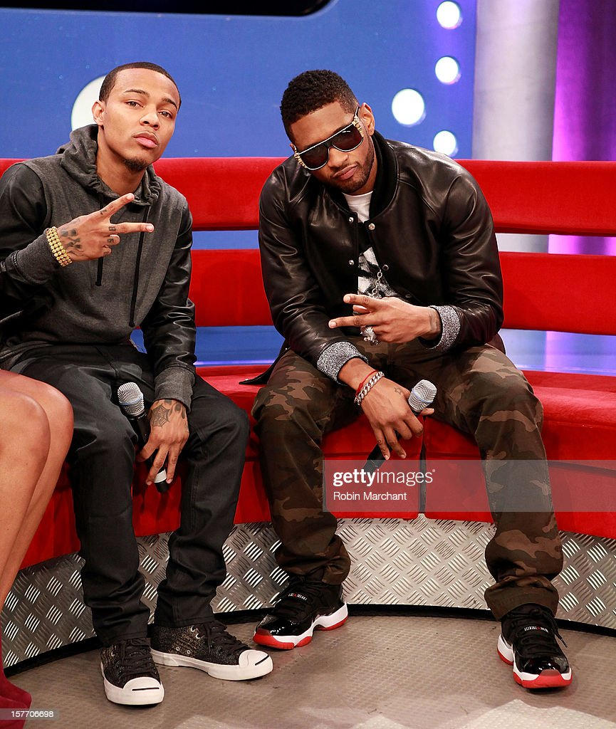 <a gi-track='captionPersonalityLinkClicked' href=/galleries/search?phrase=Bow+Wow+-+Rapper&family=editorial&specificpeople=211211 ng-click='$event.stopPropagation()'>Bow Wow</a> (L) and Usher visit 106 & Park studio on December 5, 2012 in New York City.