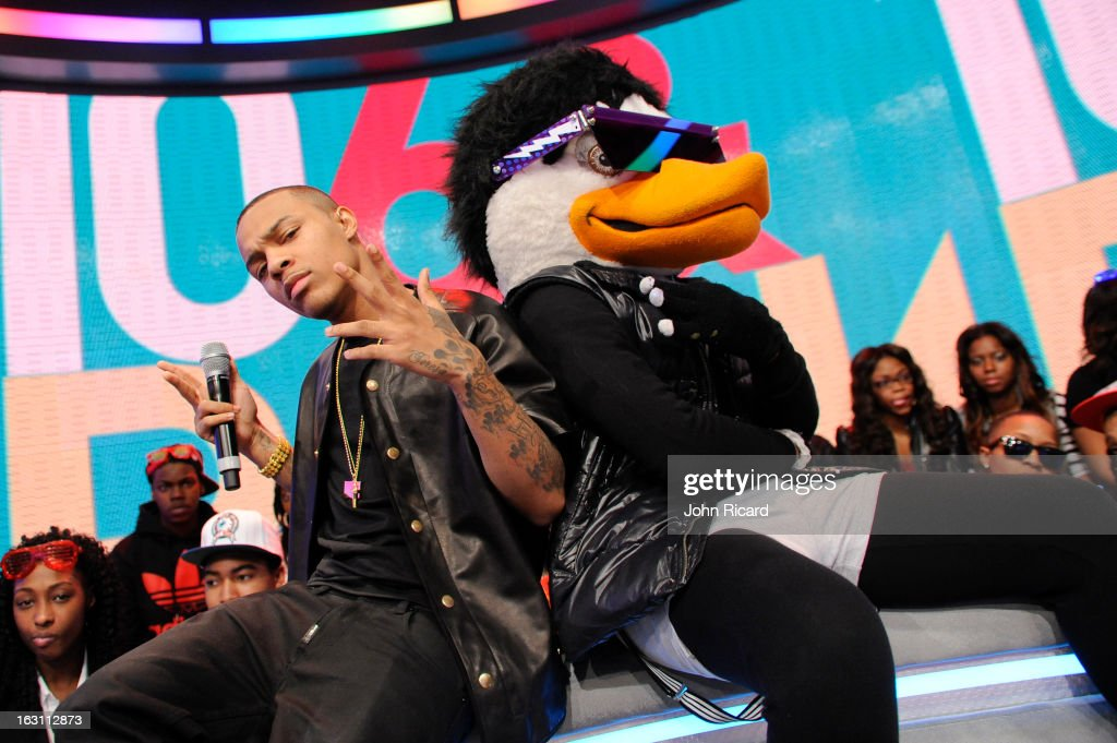 <a gi-track='captionPersonalityLinkClicked' href=/galleries/search?phrase=Bow+Wow+-+Rapper&family=editorial&specificpeople=211211 ng-click='$event.stopPropagation()'>Bow Wow</a> and Watch The Duck at BET's '106 & Park', at BET Studios on March 4, 2013 in New York City.