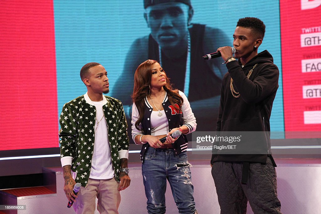 <a gi-track='captionPersonalityLinkClicked' href=/galleries/search?phrase=Bow+Wow+-+Rapper&family=editorial&specificpeople=211211 ng-click='$event.stopPropagation()'>Bow Wow</a>, Keshia Chante, and B. Smyth attend 106 & Park at 106 & Park studio on October 22, 2013 in New York City.