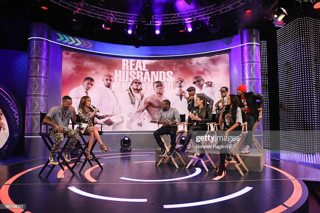 Bow Wow, Keshia Chante, Kevin Hart, Cynthia Kaye McWilliams, Selita Ebanks (back row) Boris Kodjoe, Nelly, and Nick Cannon attend 106 & Park at 106 & Park studio on November 11, 2013 in New York City.