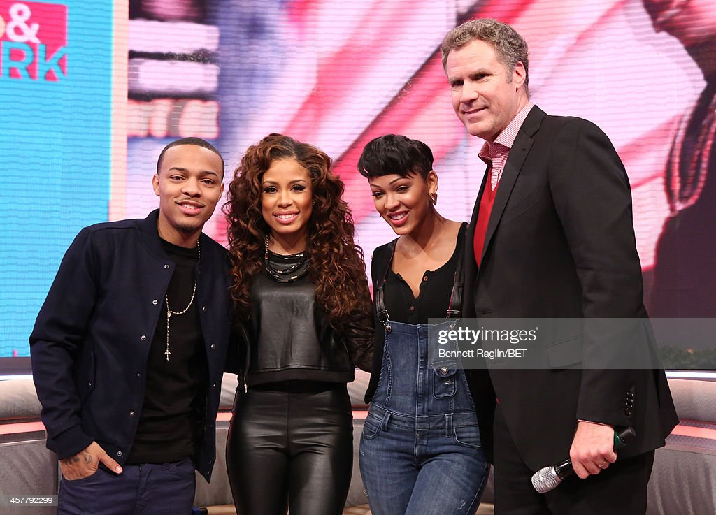 <a gi-track='captionPersonalityLinkClicked' href=/galleries/search?phrase=Bow+Wow+-+Rapper&family=editorial&specificpeople=211211 ng-click='$event.stopPropagation()'>Bow Wow</a>, Keshia Chante, <a gi-track='captionPersonalityLinkClicked' href=/galleries/search?phrase=Meagan+Good&family=editorial&specificpeople=171680 ng-click='$event.stopPropagation()'>Meagan Good</a>, and <a gi-track='captionPersonalityLinkClicked' href=/galleries/search?phrase=Will+Ferrell&family=editorial&specificpeople=171995 ng-click='$event.stopPropagation()'>Will Ferrell</a> attend 106 & Park at BET studio on December 17, 2013 in New York City.