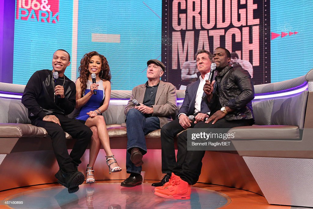<a gi-track='captionPersonalityLinkClicked' href=/galleries/search?phrase=Bow+Wow+-+Rapper&family=editorial&specificpeople=211211 ng-click='$event.stopPropagation()'>Bow Wow</a>, Keshia Chante, <a gi-track='captionPersonalityLinkClicked' href=/galleries/search?phrase=Robert+De+Niro&family=editorial&specificpeople=201673 ng-click='$event.stopPropagation()'>Robert De Niro</a>, <a gi-track='captionPersonalityLinkClicked' href=/galleries/search?phrase=Sylvester+Stallone&family=editorial&specificpeople=202604 ng-click='$event.stopPropagation()'>Sylvester Stallone</a>, and Kevin Hart visit 106 & Park at BET studio on December 16, 2013 in New York City.