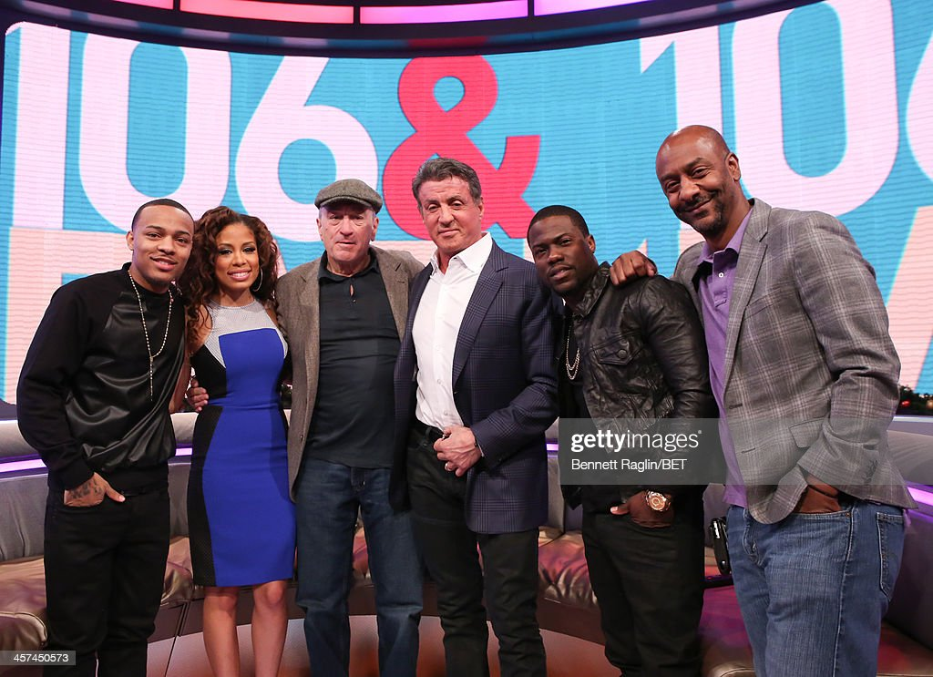<a gi-track='captionPersonalityLinkClicked' href=/galleries/search?phrase=Bow+Wow+-+Rapper&family=editorial&specificpeople=211211 ng-click='$event.stopPropagation()'>Bow Wow</a>, Keshia Chante, <a gi-track='captionPersonalityLinkClicked' href=/galleries/search?phrase=Robert+De+Niro&family=editorial&specificpeople=201673 ng-click='$event.stopPropagation()'>Robert De Niro</a>, <a gi-track='captionPersonalityLinkClicked' href=/galleries/search?phrase=Sylvester+Stallone&family=editorial&specificpeople=202604 ng-click='$event.stopPropagation()'>Sylvester Stallone</a>, Kevin Hart, and Stephen Hill attend 106 & Park at BET studio on December 16, 2013 in New York City.