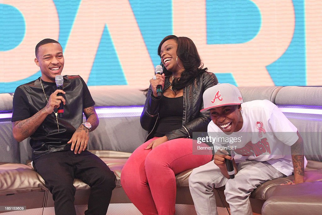 <a gi-track='captionPersonalityLinkClicked' href=/galleries/search?phrase=Bow+Wow+-+Rapper&family=editorial&specificpeople=211211 ng-click='$event.stopPropagation()'>Bow Wow</a>, Keyonnah Abrams, and Mattie 'Dee Pimpin' Brown attend 106 & Park at 106 & Park studio on October 17, 2013 in New York City.