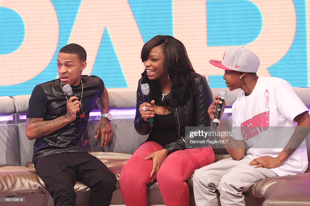 Bow Wow, Keyonnah Abrams, and Mattie 'Dee Pimpin' Brown attend 106 & Park at 106 & Park studio on October 17, 2013 in New York City.