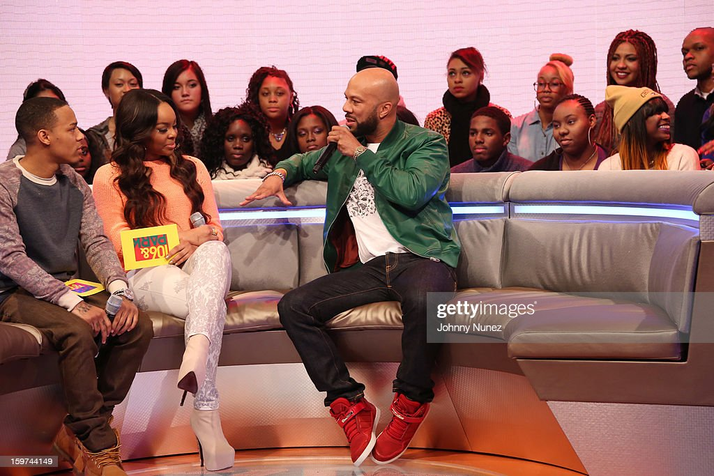 Bow Wow, Kimberly 'Paigion' Walker, and rapper/actor Common visit BET's '106 & Park' at 106 & Park Studio on January 18, 2013 in New York City.