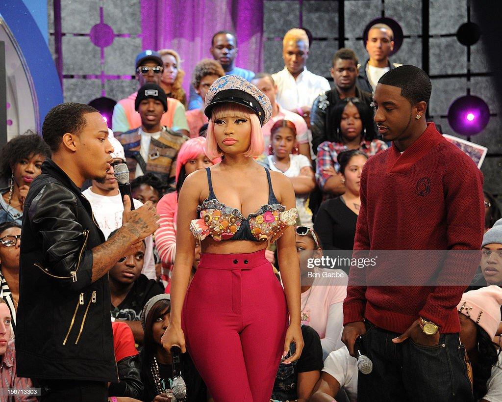 Bow Wow, Nicki Minaj and Shorty attend BET's 106 & Park Studio on November 19, 2012 in New York City.
