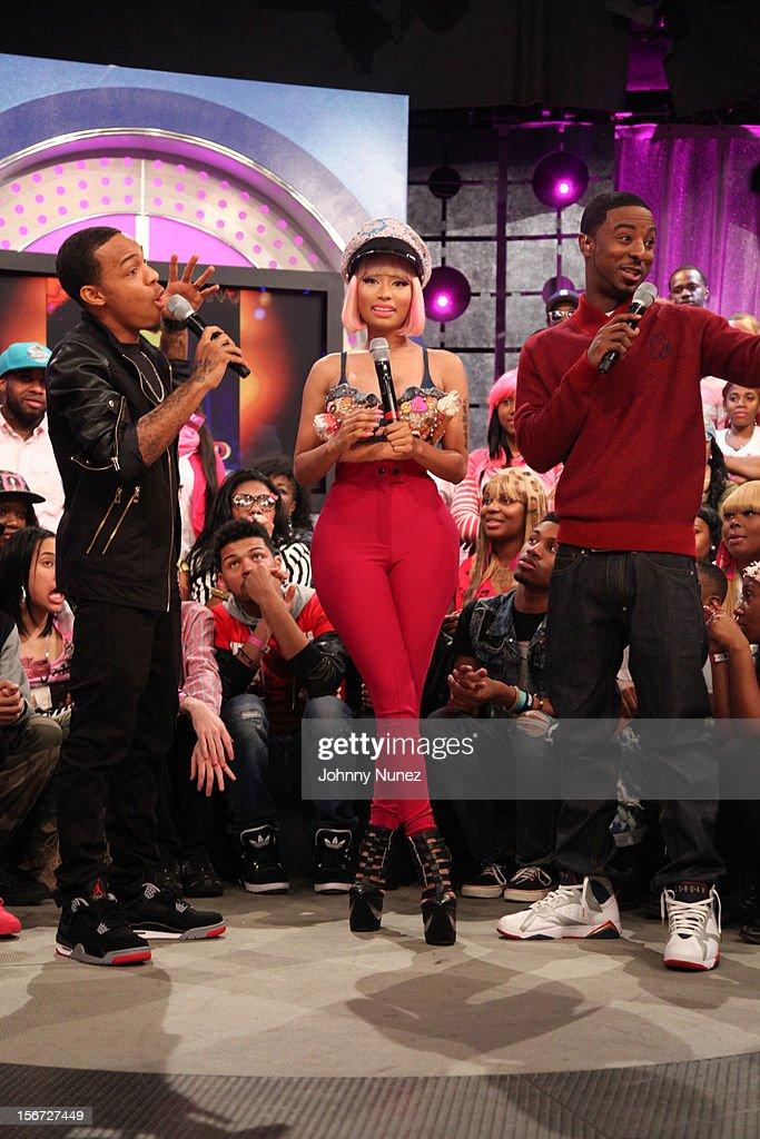Bow Wow, Nicki Minaj and Shorty Da Prince visit BET's 106 & Park at 106 & Park Studio on November 19, 2012 in New York City.