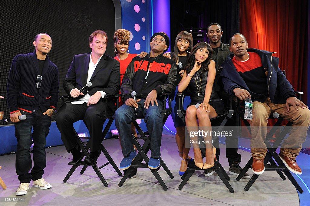 Bow Wow, Quentin Tarantino, Miss Mykie, Samuel L Jackson, Paijion, Kerry Washington, Shorty Da Prince and Jamie Foxx visit BET's '106 & Park' at 106 & Park Studio on December 14, 2012 in New York City.