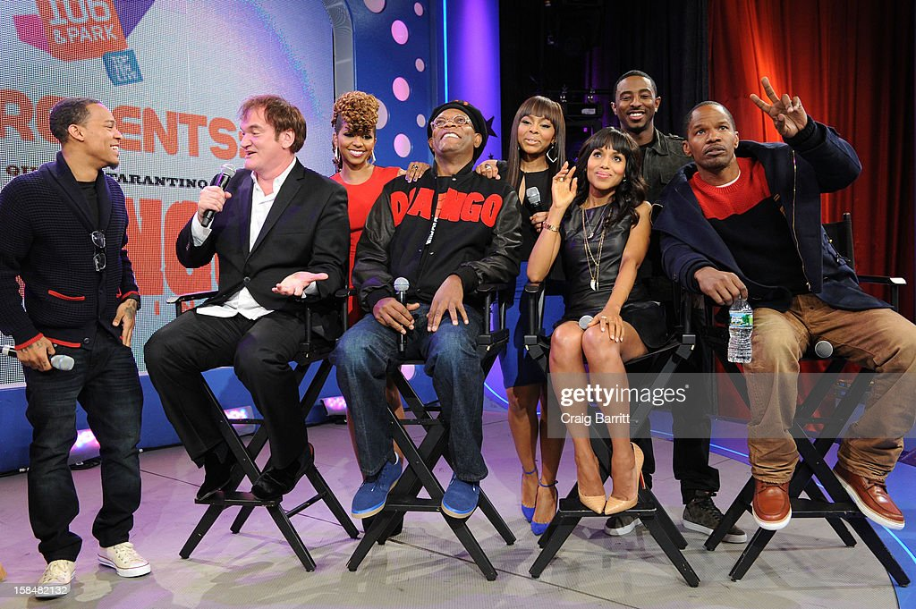 Bow Wow, Quentin Tarantino, Miss Mykie, Samuel L Jackson, Paijion, Kerry Washington, Shorty Da Prince and Jamie Foxx visit BET's '106 & Park' at 106 & Park Studio on December 14, 2012 in New York City.