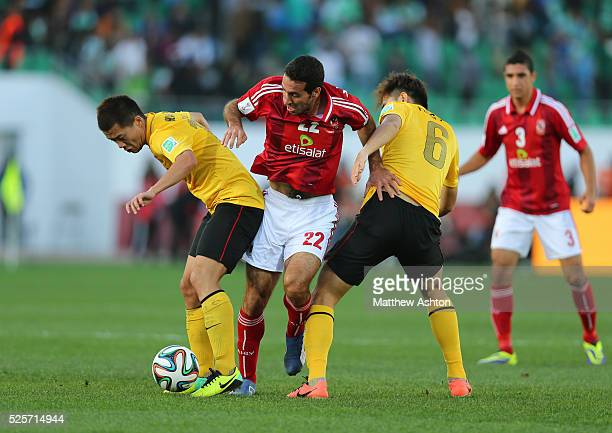 Bowen of Guangzhou Evergrande FC Mohamed Aboutrika of AlAhly and FENG Xiaoting of Guangzhou Evergrande FC