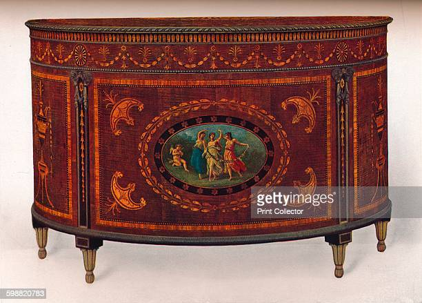 BowFronted Commode with Metal Mouldings and Headings veneered and inlaid with coloured woods circa 1780 BowFronted Commode with Metal Mouldings and...