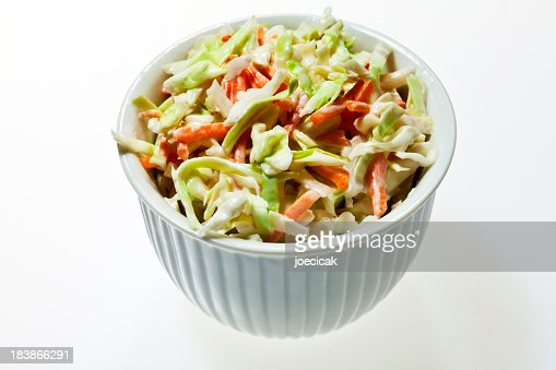 A bowl full of coleslaw on a white background : Stock Photo