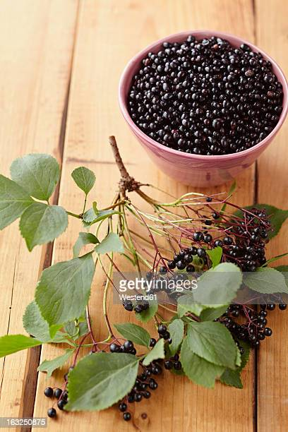 Bowl full of elderberries with branch on wooden table