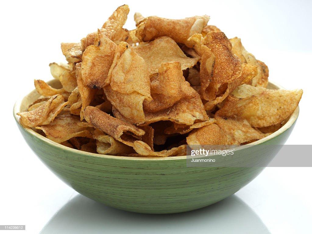 Bowl full of potato chips