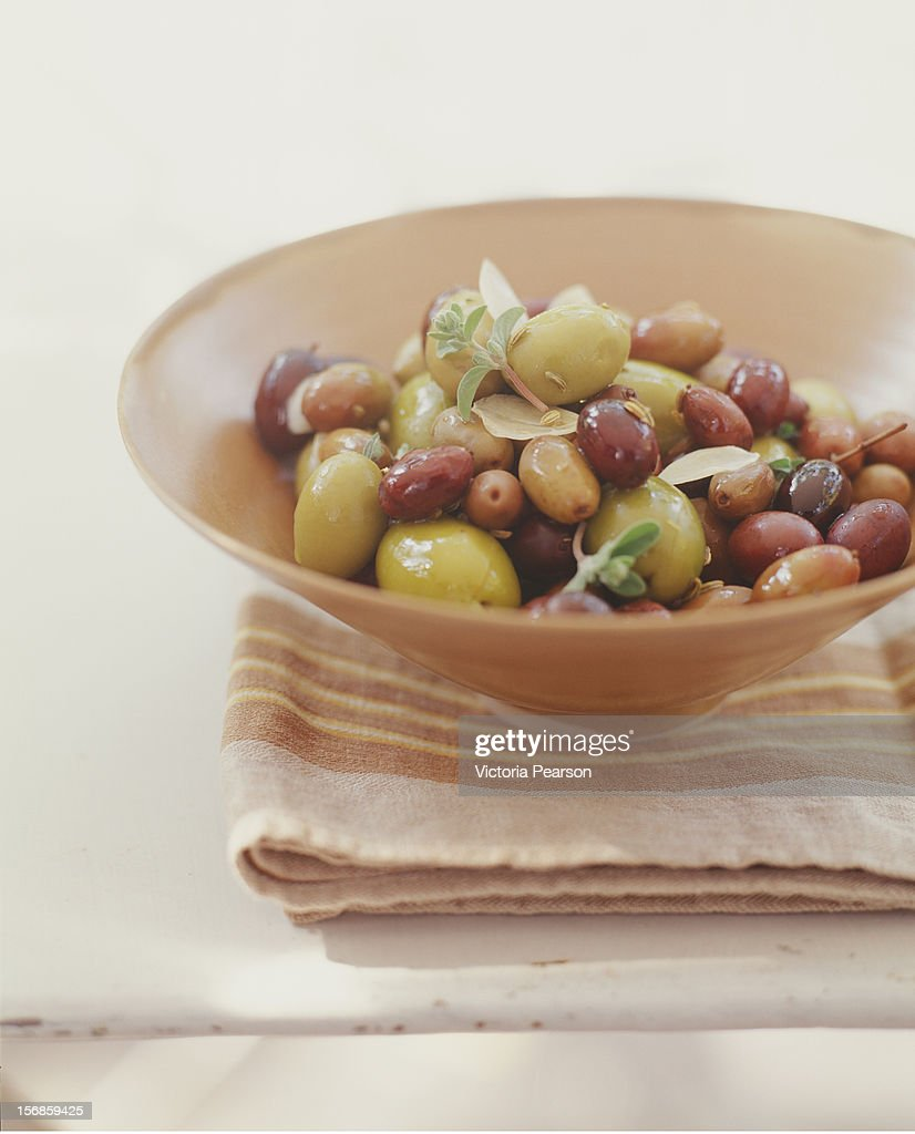A bowl of a variety of olives. : Stock Photo