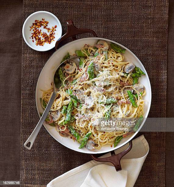 Bowl of Angel Hair Pasta with Asparagus