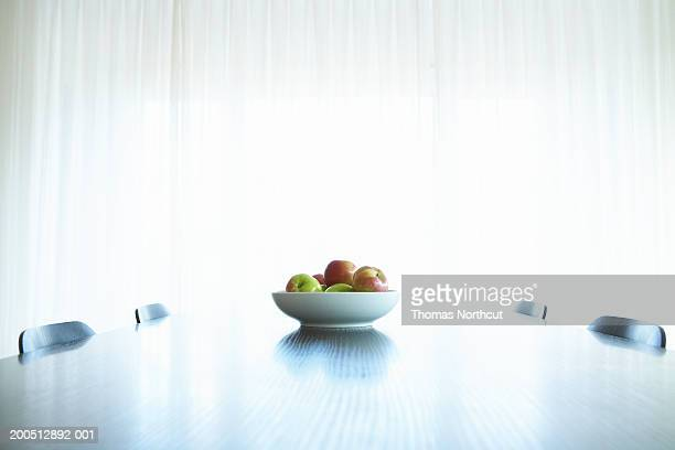 Bowl of apples atop dining table