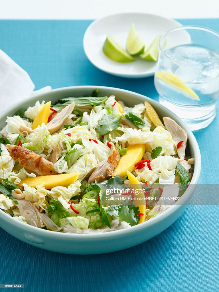 Bowl of chicken and mango salad : Stock Photo