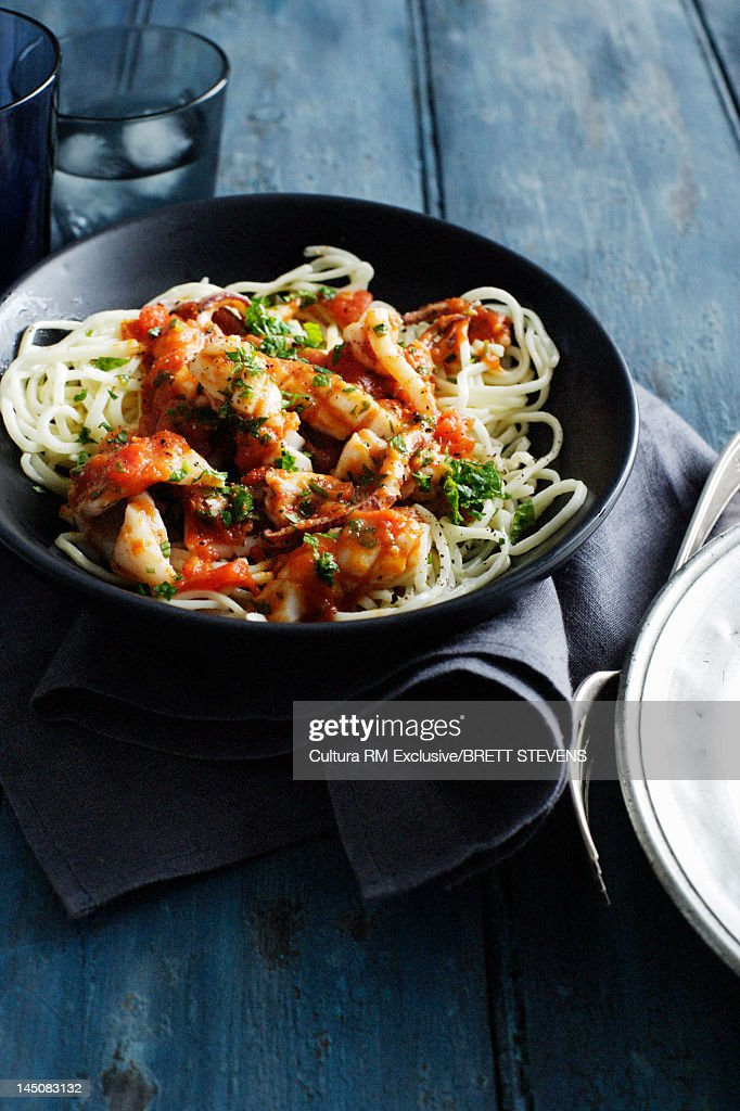 Bowl of chicken and pasta : Stock Photo