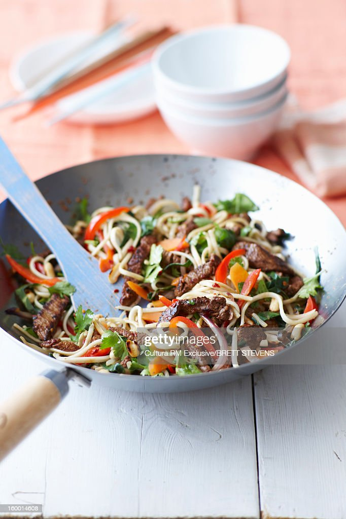 Bowl of chili and beef noodles : Stock Photo