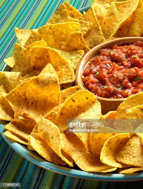 bowl of chips with fresh salsa