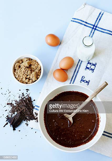 Bowl of chocolate with sugar and eggs