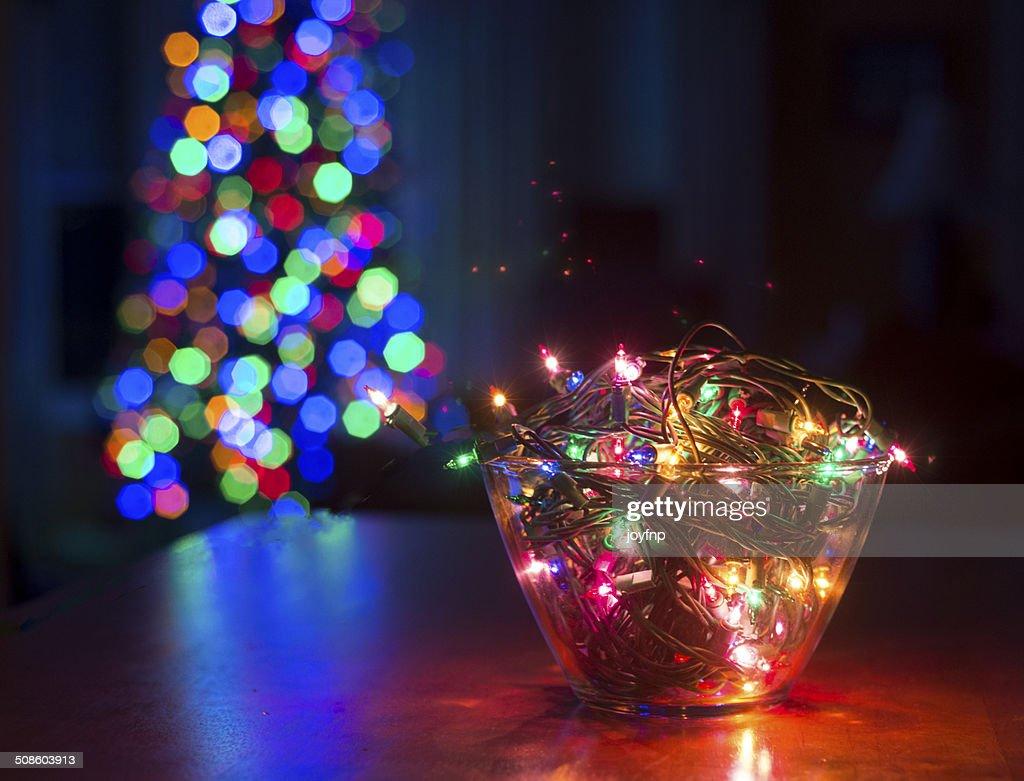 Bowl of Christmas Lights : Stock Photo